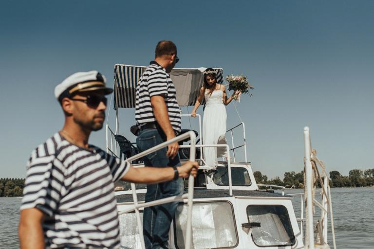 Bride boat ride